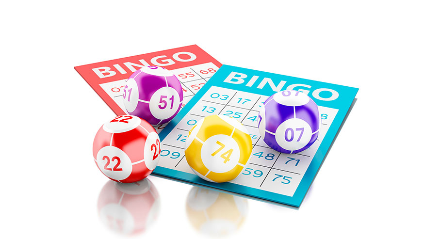 Multicolored Bingo Balls on Bingo Cards