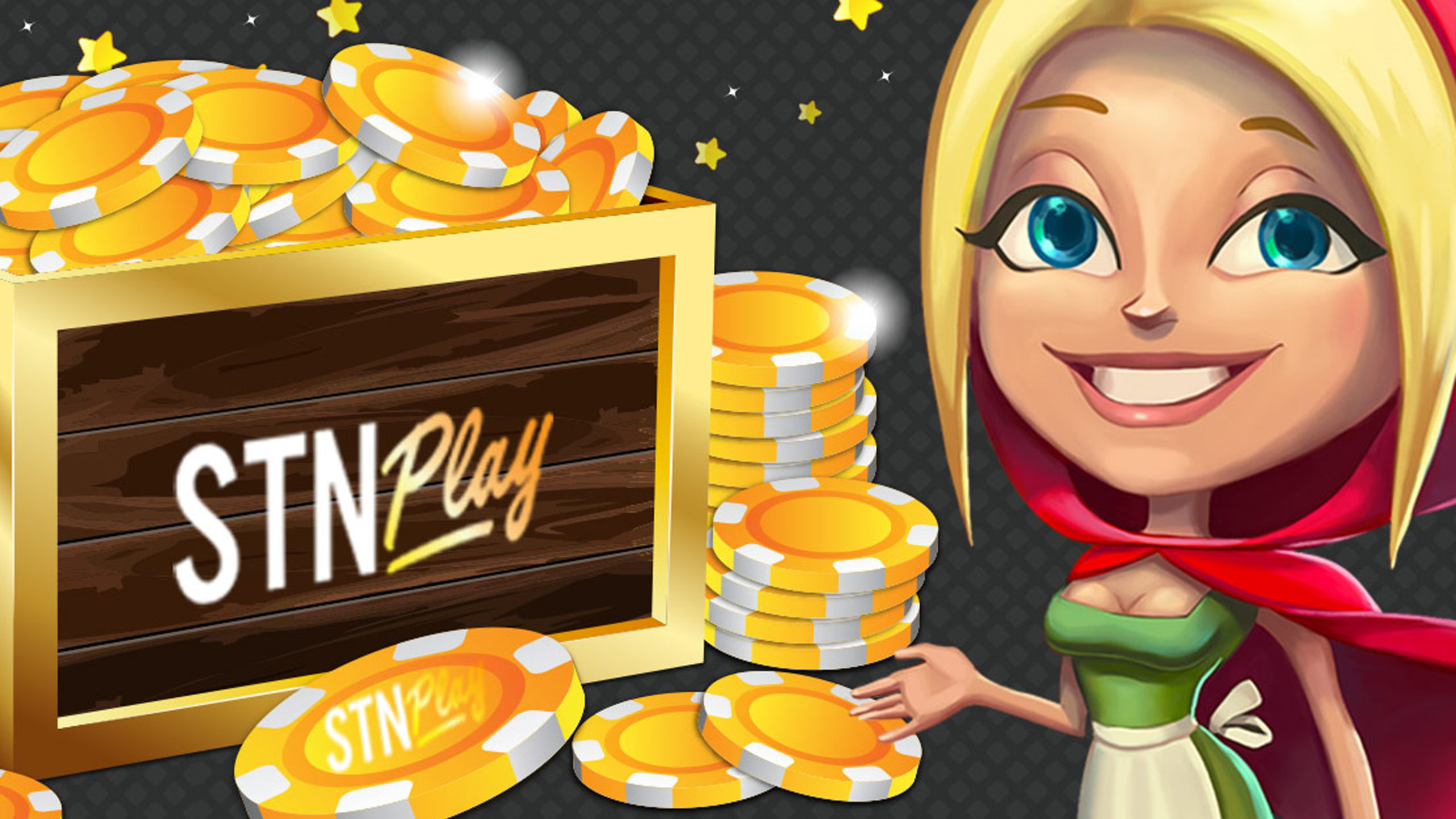 STN Play Cartoon of Little Red Riding Hood with crate of gold STN PLAY chips