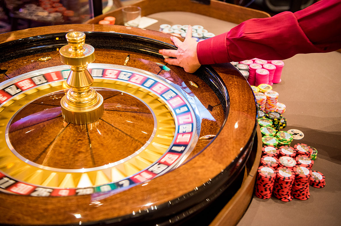 a photo of roulette wheel being spun