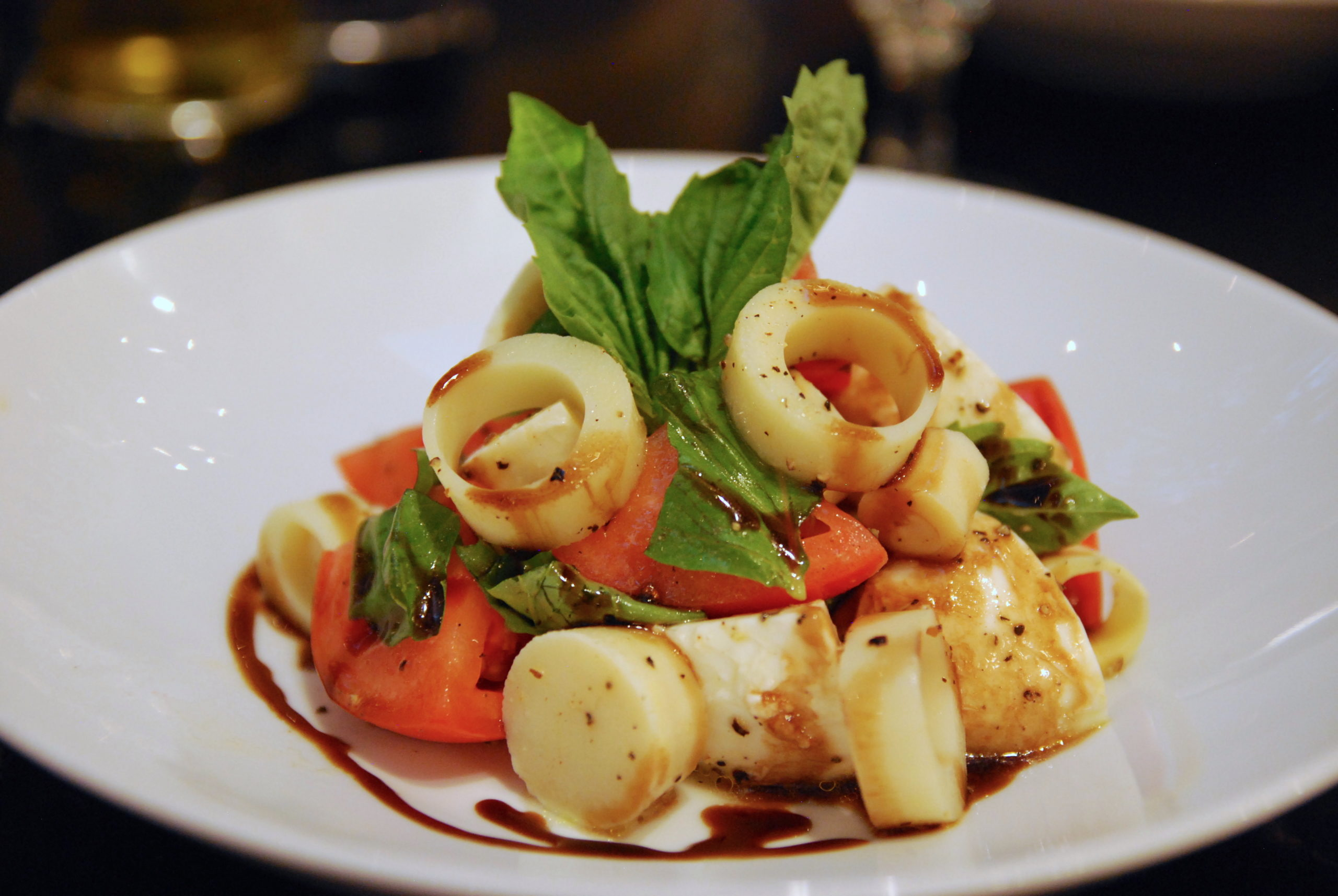 a photo of hearts of palm Caprese Salad