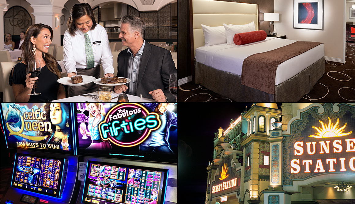 a collage of slot machines, hotel room, and dining